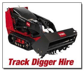 AMAC Traxmaster track mini digger hire - click for more information